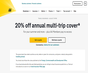 The AA Travel Insurance Promotional Code