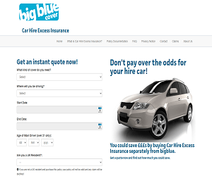 Big Blue Cover Car Hire Excess Insurance Discount